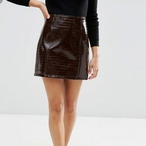 New! ASOS Gator Skin Patent Leather Skirt